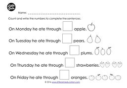 Download free The Very Hungry Caterpillar counting one-to-one correspondence worksheet
