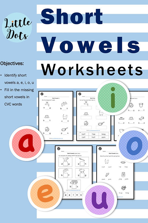 Preschool phonics short vowels worksheets