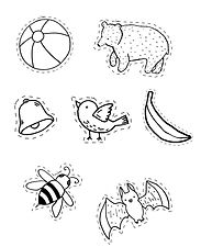 a set of letter b clipart. It includes ball clipart, bear clipart, bell clipart, bird clipart, banana clipart, bee clipart and bat clipart.