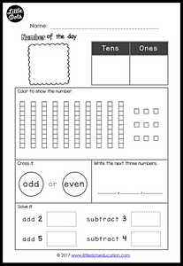 Free number of the day worksheet within 100