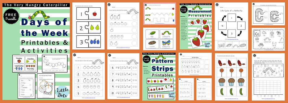 The very hungry caterpillar activities and printable for preschool