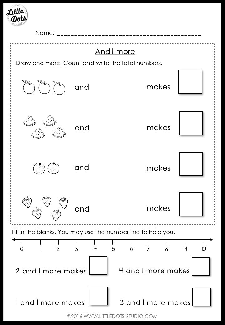 Addition worksheet for kindergarten