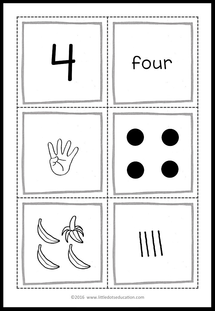Free Numbers 1 to 10 Flashcards for preschool