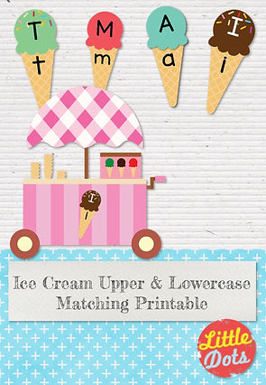 Free uppercase and lowercase letters ice cream matching printable