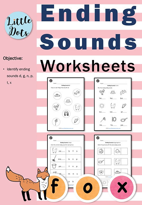 Ending Sounds Worksheets And Activities Little Dots Education