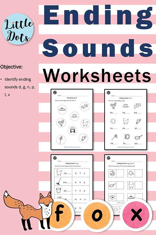 Phonics ending sounds worksheets for preschool or kindergarten