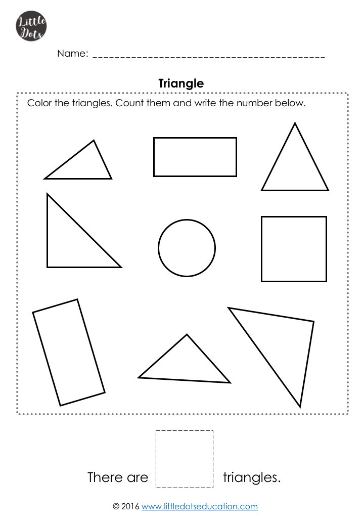 Free triangle shape worksheet for pre-k