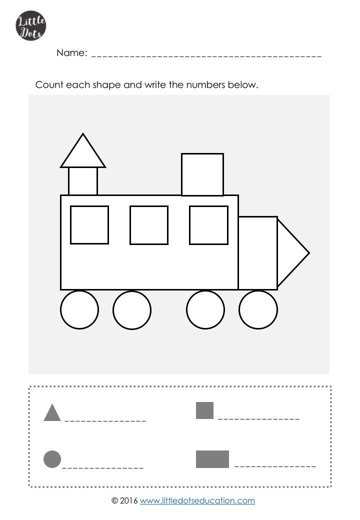 Free shapes counting worksheet for kindergarten