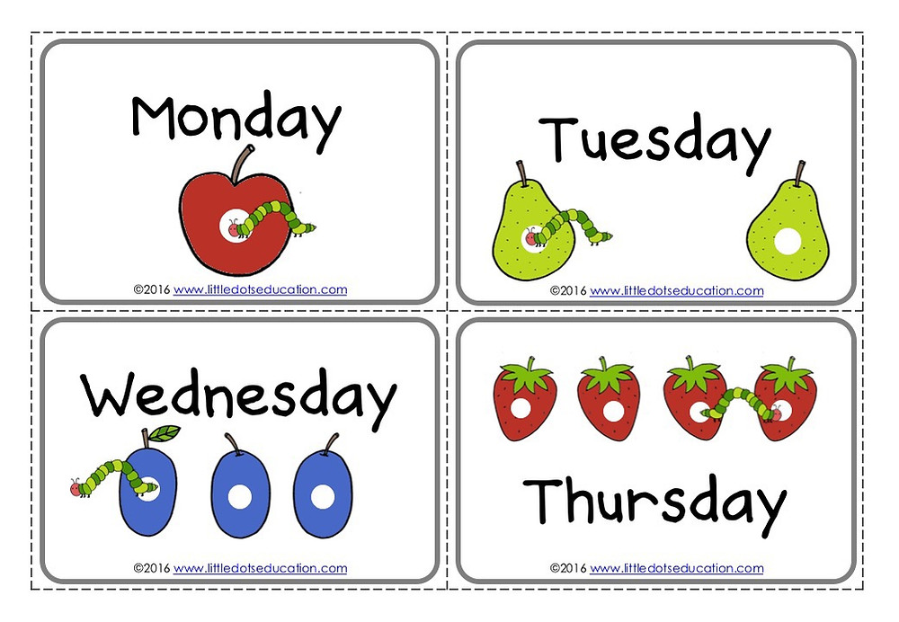 The Very Hungry Caterpillar days of the week flashcards