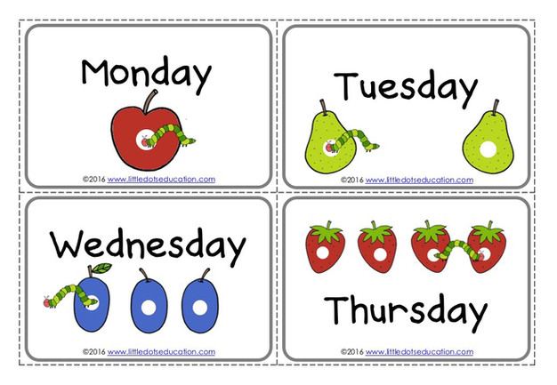 The Very Hungry Caterpillar Theme: Free Days of the Week ...