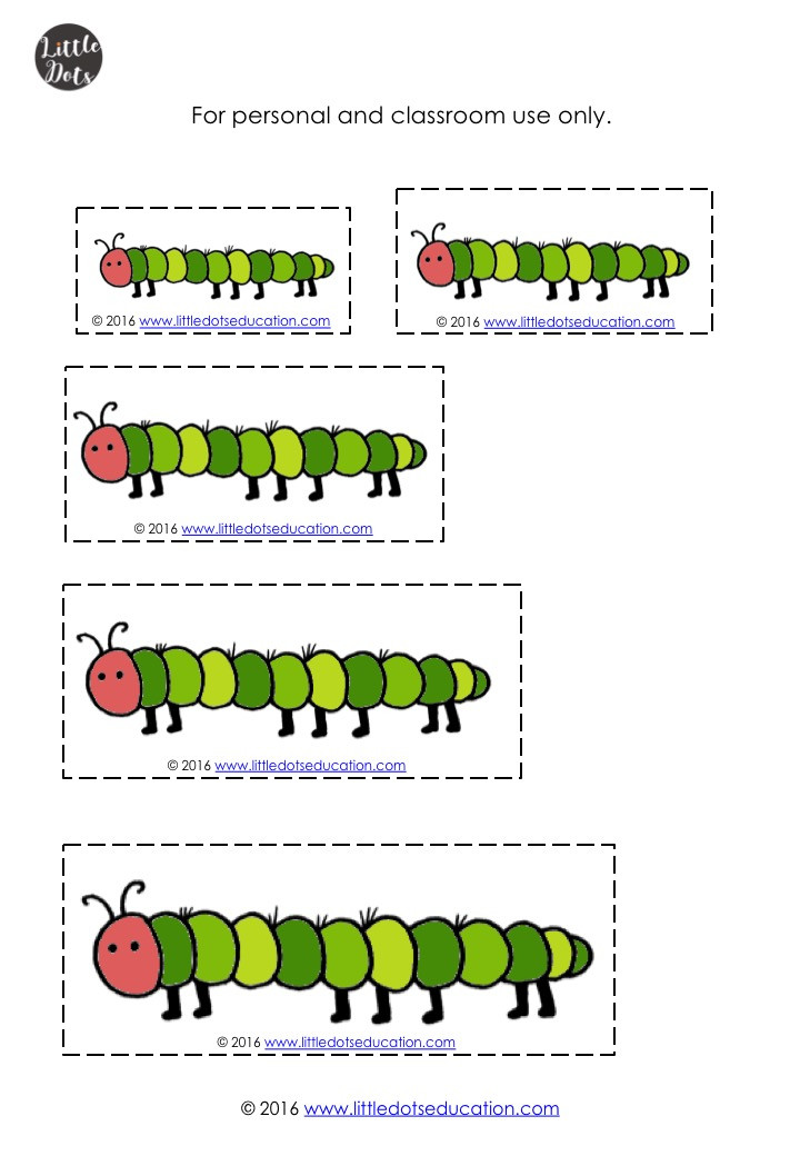 The Very Hungry Caterpillar length comparison printable for preschool, pre-k or kindergarten