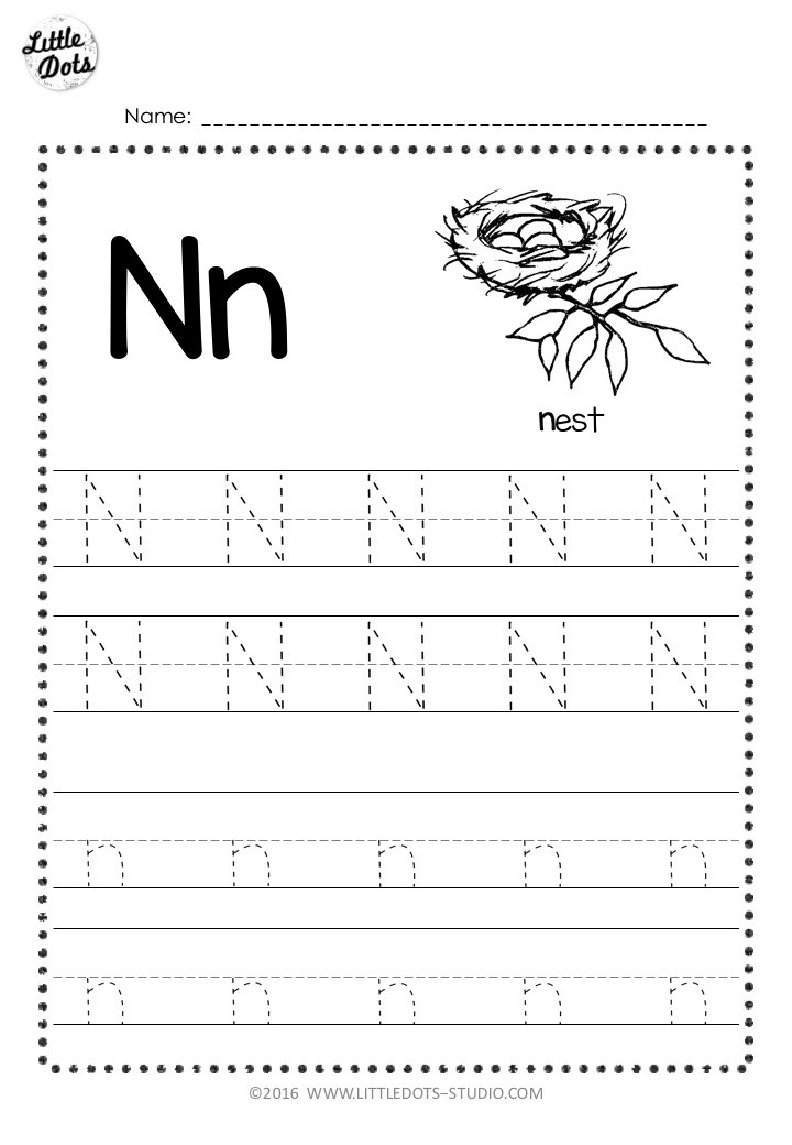 Free letter n tracing worksheet with lines