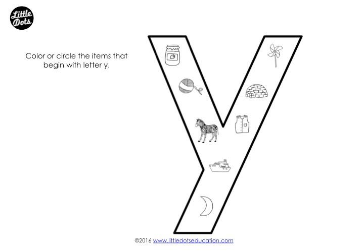 Letter Y Sound Worksheet
