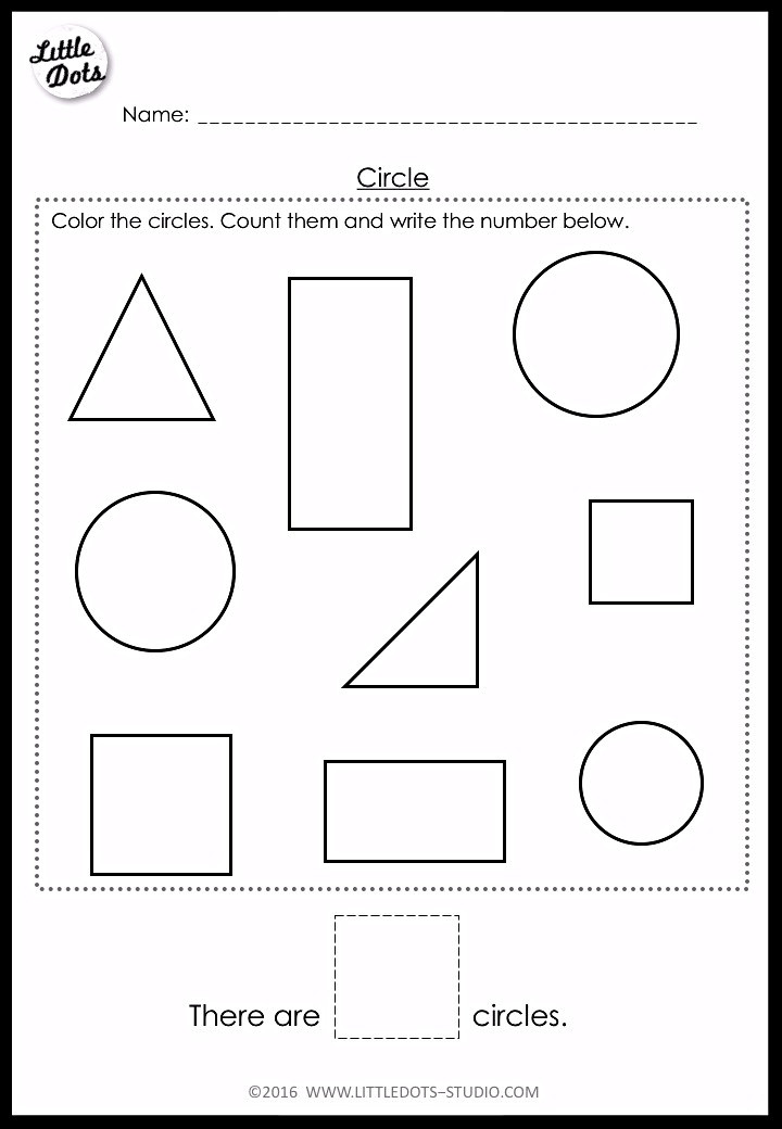 counting circle shape worksheet for pre-k