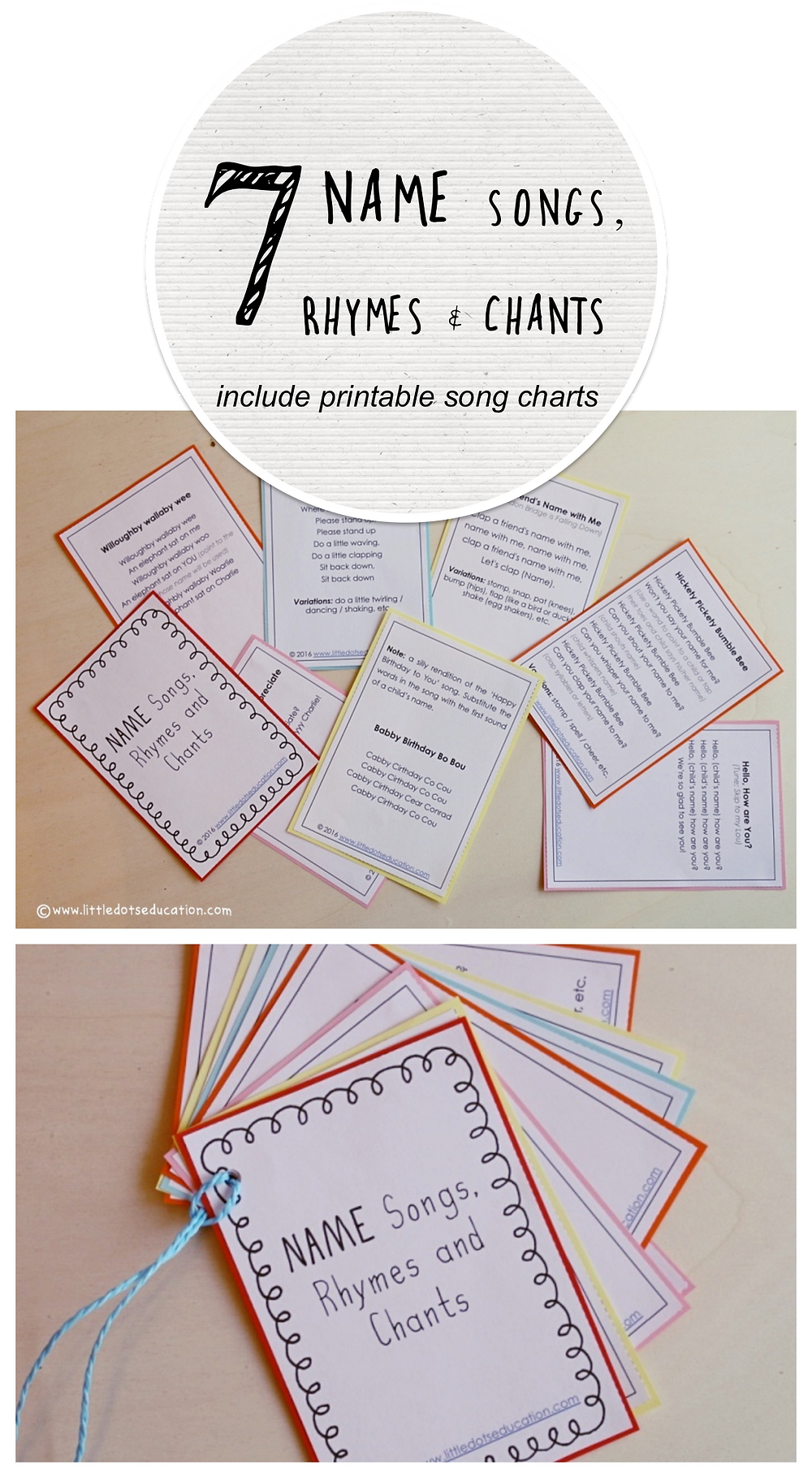 7 name songs, rhymes and chants great for circle time or to break the ice at a new class. Includes printable for teachers to print for future reference.