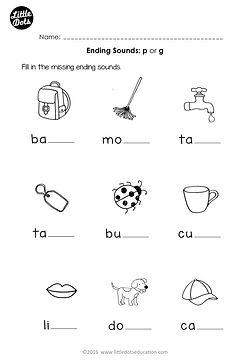 Free preschool phonics ending sounds p and g worksheet