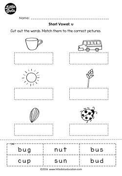 Free short vowel u worksheet printable for preschool or kindergarten class