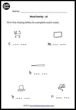 Free phonics word family -at worksheet for kindergarten class