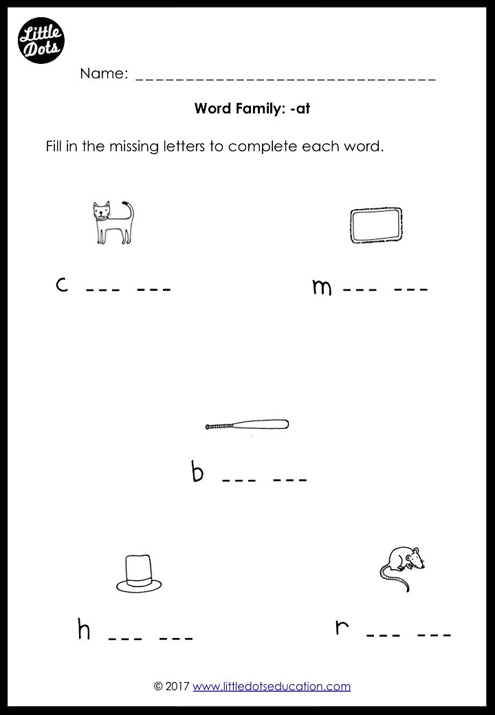 Word family -at worksheet