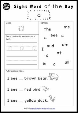 Brown Bear, Brown Bear, What Do You See? Sight Words Worksheets ...