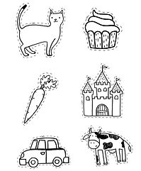 a set of letter c clipart, it includes cat clipart, cupcake clipart, carrot clipart, castle clipart, car clipart and cow clipart.