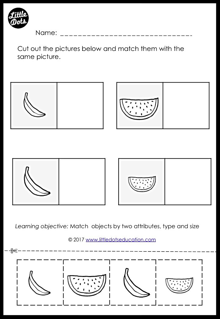 Matching by two attributes worksheet for kindergarten class. Match by type of fruits and size.