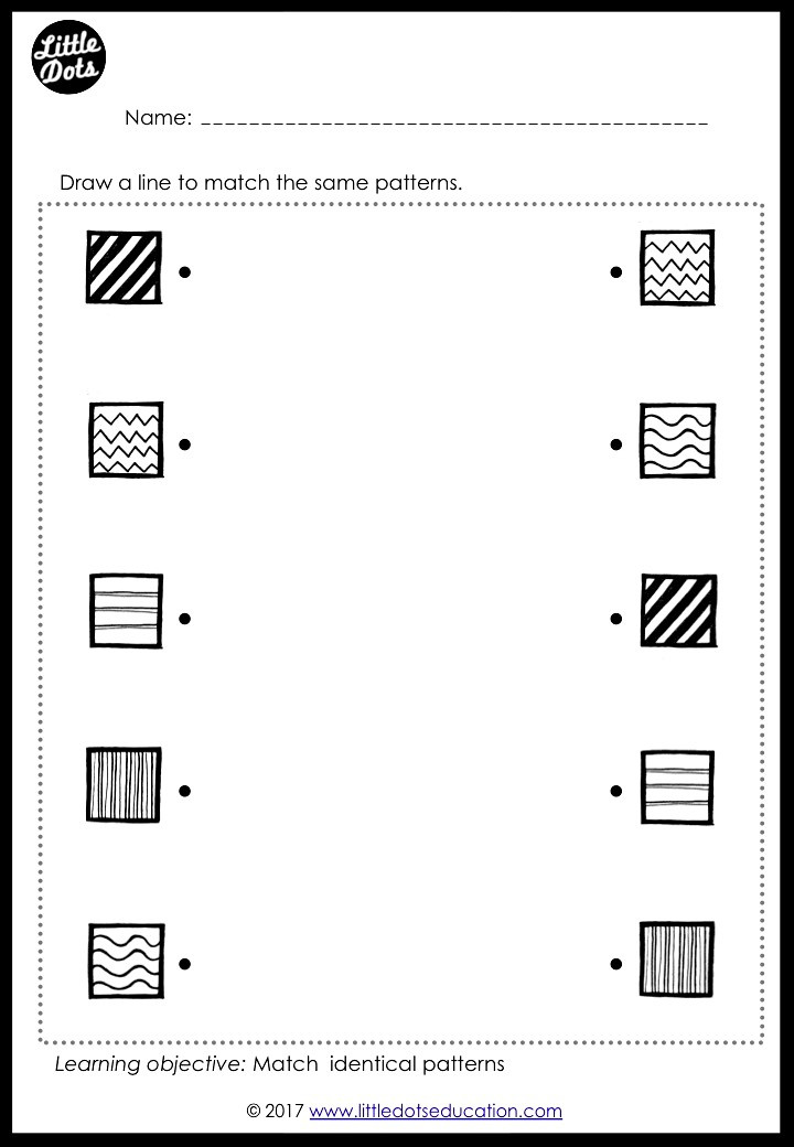 Preschool Patterns Matching Worksheets and Activities
