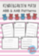 Preschool AAB and ABB patterns worksheets and activities.