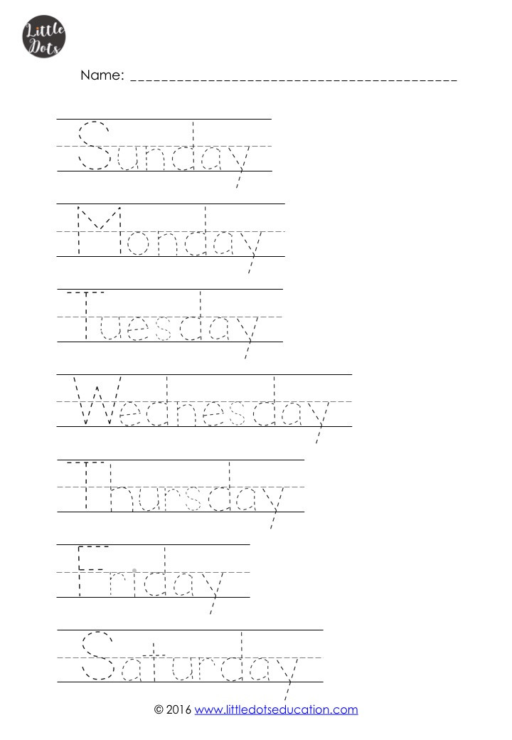 Days of the week tracing worksheet for preschool, pre-k or kindergarten