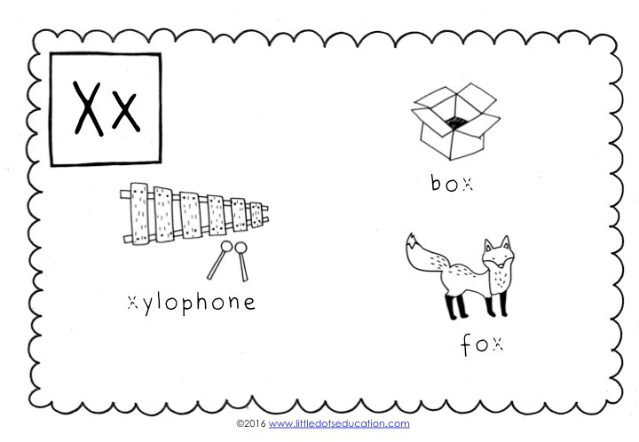 words start with x for preschool