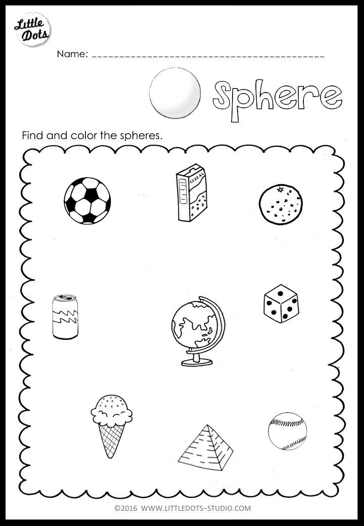 Sphere worksheet for kindergarten