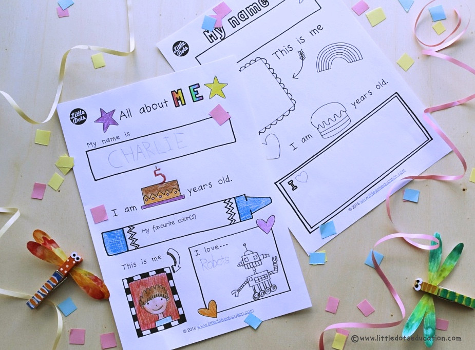 Free All about Myself theme activity and printable