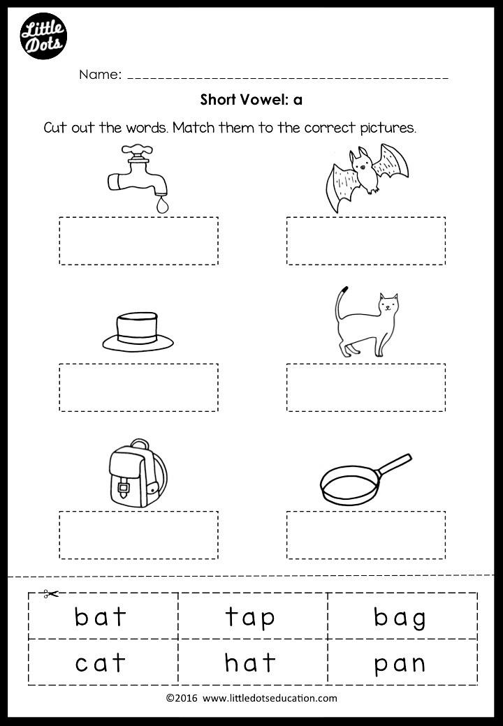 Short vowel a worksheet for preschool or kindergarten