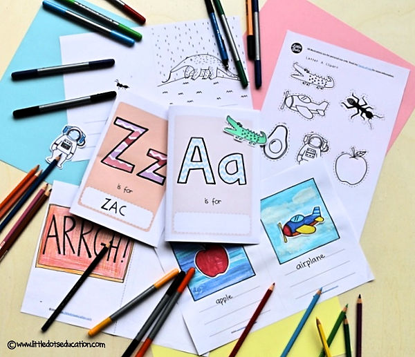 Create your own alphabet book with these free printable and templates. You can make your own set of letter a to z books.