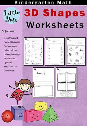 3D (Solid) Shapes Worksheets for Kindergarten