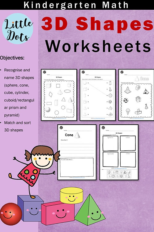 3D shapes worksheets for kindergarten