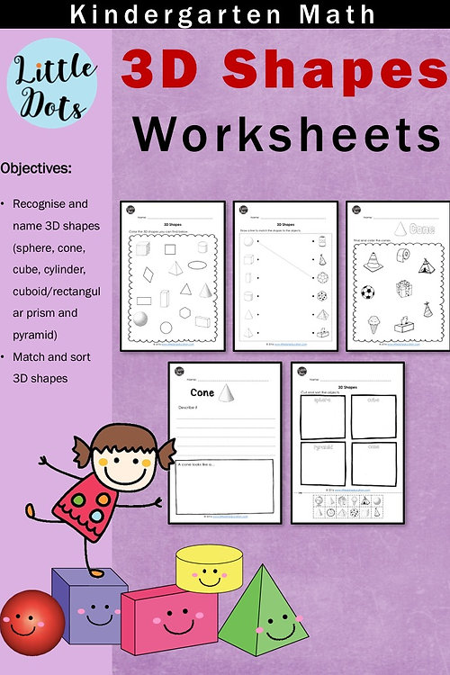Little Dots Education Preschool Printables and Activities – 3d Shape Worksheets for Kindergarten