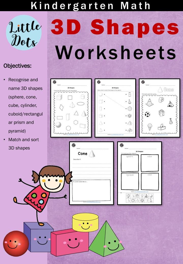 Kindergarten Math 3D or Solid Shapes Worksheets Bundle Set