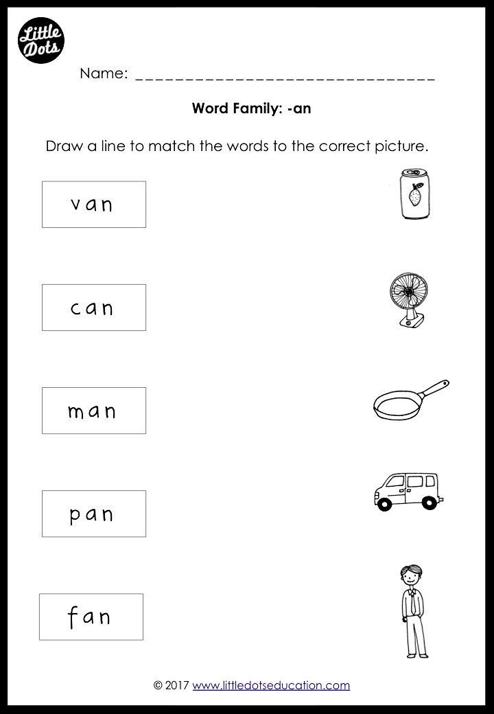 Phonics word family -an worksheet