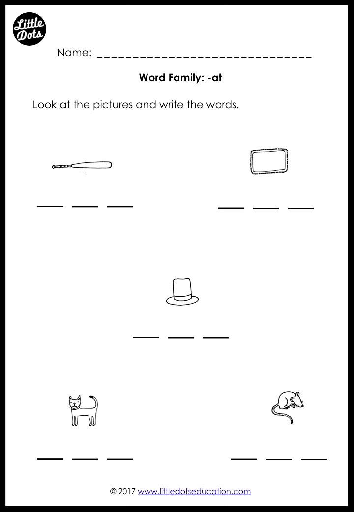Phonics word family -at worksheet