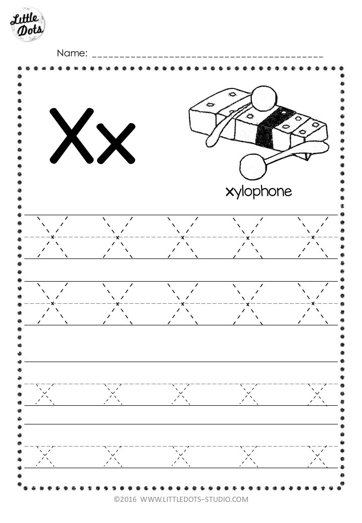 Free Letter X Tracing Worksheets
