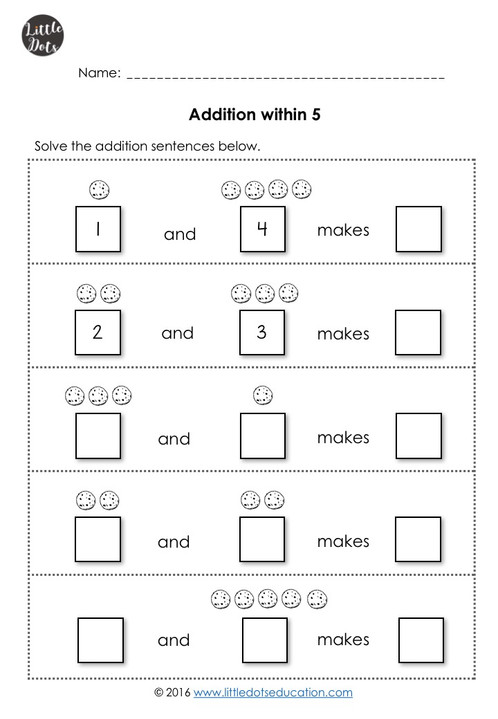 Addition Worksheets Within 10 For Kindergarten Little