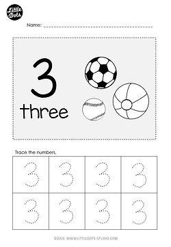 Free Pre-K number 3 worksheet. Practice to trace number 3.