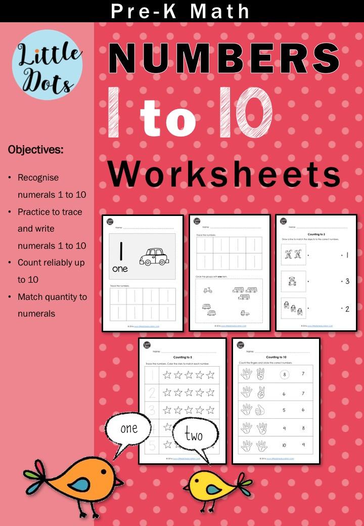 Pre-K Maths Numbers 1 to 10 Worksheets Bundle Set