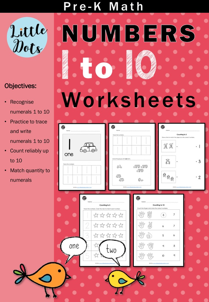 Pre K Numbers 1 To 10 Worksheets And Activities