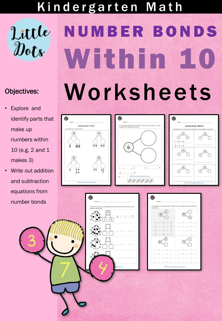 Number Bonds Worksheets for Kindergarten