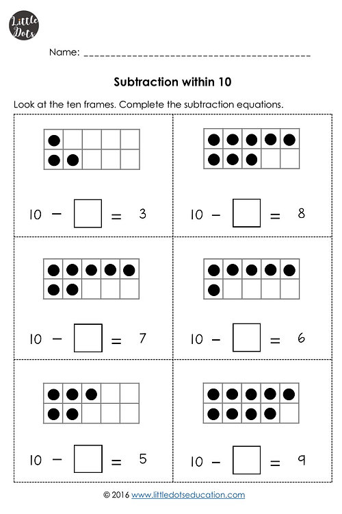Little Dots Education – Tens Frames Worksheets
