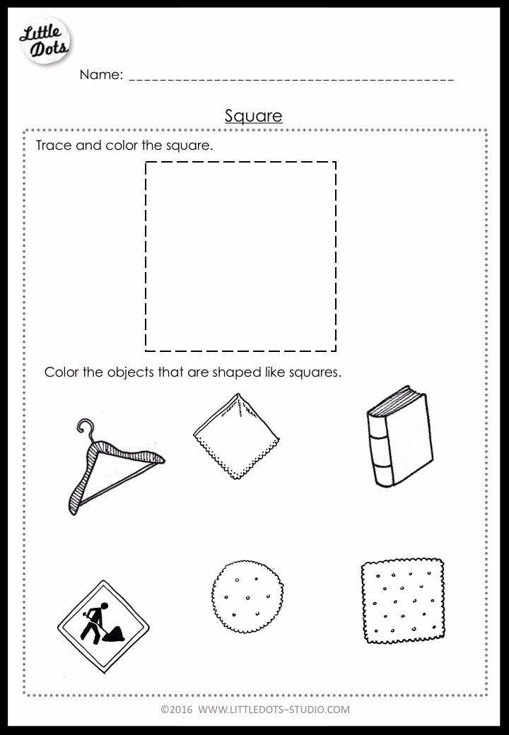 Pre-K square shape worksheet