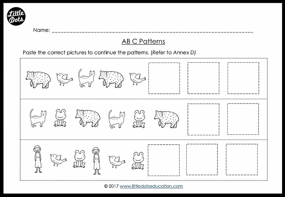 Kindergarten math ABC patterns worksheet