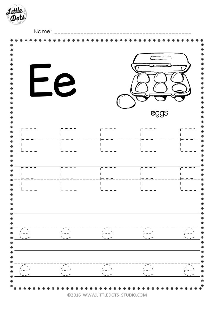 Free letter e tracing worksheet with line